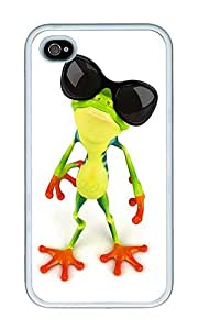 iPhone 4 Case,iPhone 4S Case,VUTTOO Stylish Funny Frog With Sunglasses Soft Case For Apple iPhone 4/4S - TPU White