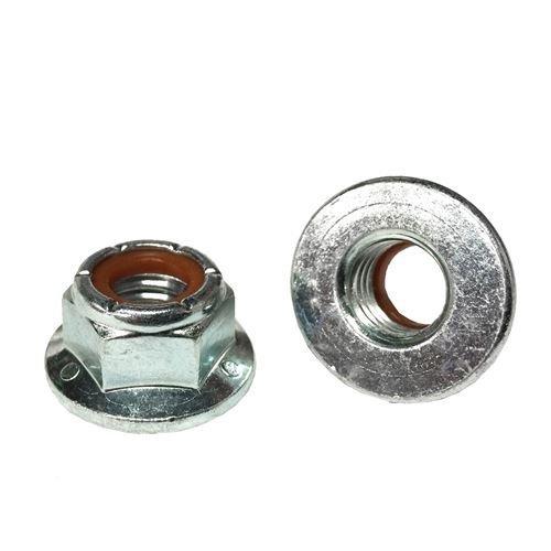 35 1//4-20 Hex Flange Nylon Insert Lock Nuts Grade 5 Zinc Clear