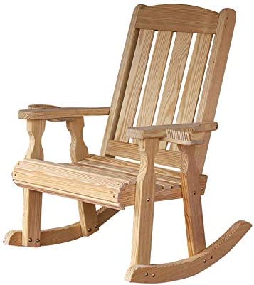 Amish Heavy Duty 600 Lb Mission Pressure Treated Rocking Chair with Cupholders Unfinished