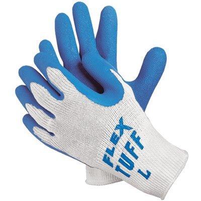 Premium Latex Coated String Gloves - flex-tuff 10 gage bluelatex ctd palm [Set of (Flex Tuff Gloves)