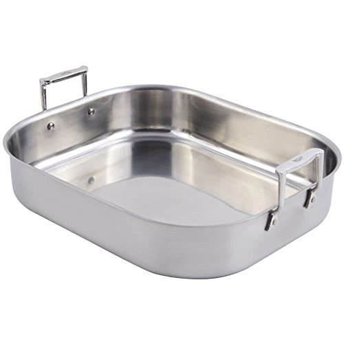 """TableTop king60010 Cucina 10 qt. Stainless Steel Rotisserie Pan with Handles - 16 3/4"""" x 14"""" x 3 1/2"""""""