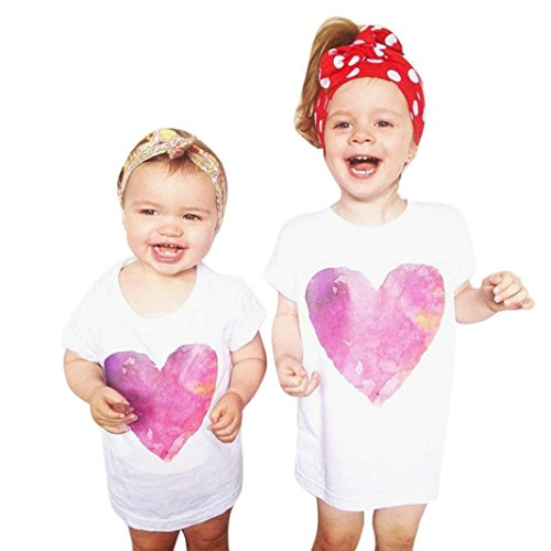 Mommy Baby Girls Heart Print T shirt, Bolayu Kids Clothes Short Sleeve Outfits (3T, White/Girls)