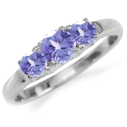 Tanzanite Light - Petite 3-Stone Genuine Tanzanite 925 Sterling Silver Ring Size 4.5
