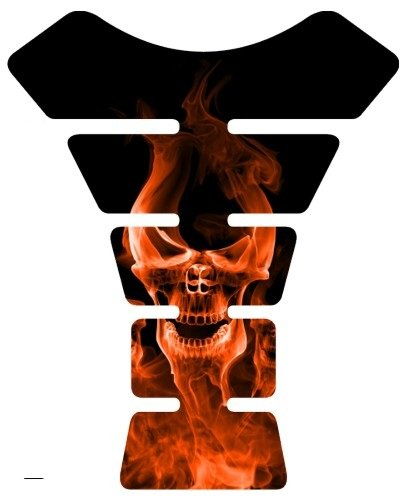 Motorcycle Smoke Skull Orange Sportbike Gel Tank Pad tankpad Protector Decal by Immortal Graphix