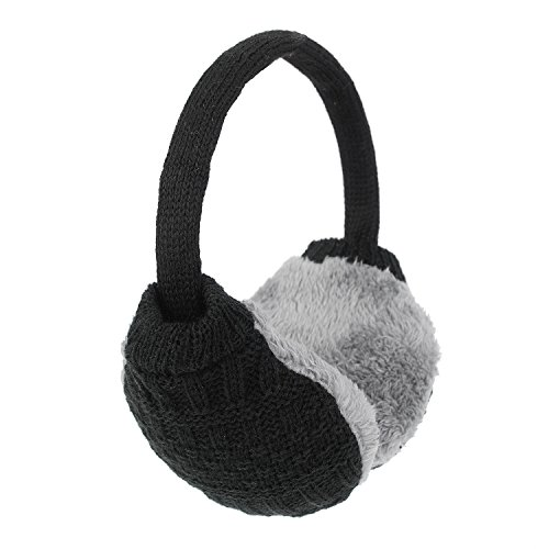 Flammi Unisex Winter Outdoor Earmuffs Knit Earmuffs Warm Faux Furry Ear Warmers (Black)