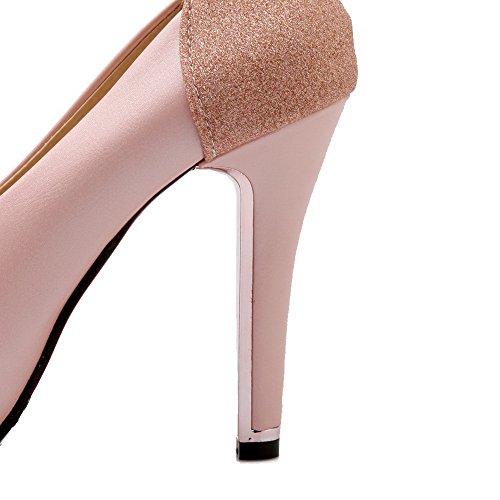 AllhqFashion Damen Rund Zehe Hoher Absatz Blend-Materialien Rein Ziehen auf Pumps Schuhe Pink