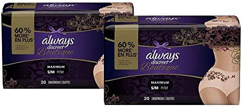 Always Discreet Boutique, Incontinence & Postpartum Underwear for Women, Disposable, Maximum Protection, Peach, Small/Medium, 20 Count- Pack of 2 (40 Count Total)