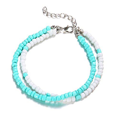 (Morrivoe Foot Jewelry Popular Resin Lady Fashion Beach Section Double Beads Anklet Foot Jewelry)