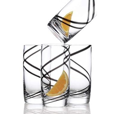 Luigi Bormioli Black Swirl 18-ounce Beverage, Set of 4
