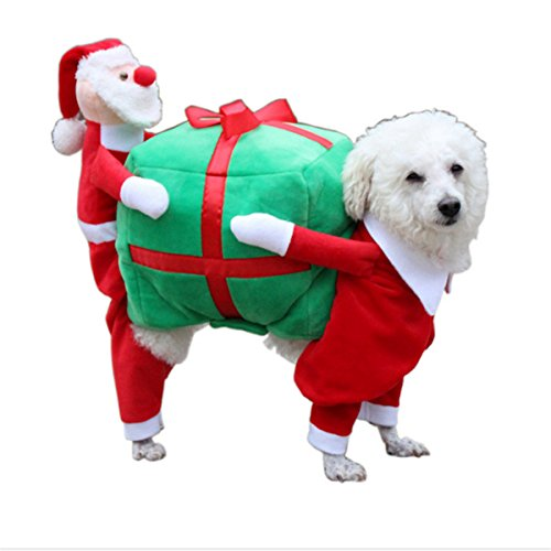 Dog Fancy Dress Costumes Christmas (MESASA Pet Costume Dog Cat Clothes Halloween Christmas Snowman Party Fancy Dress Puppy Cosplay L)