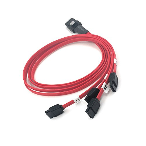 (Mini SAS 36 Pin SFF-8087 Male to 4-SATA 7 Pin Female Cable Multi-Lane Mini SAS Host Internal Cable to Target HDD Hard Drive Splitter Cable)