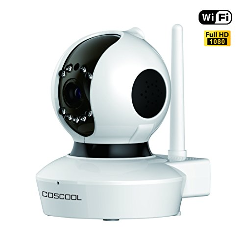 CosCool IP Camera 1080P Wireless,Wifi Surveillance Camera Network Security Webcam,Microphone Inside,Two Way Audio,Onekey Wifi Fast Setting,Night Vision,ONIVF,Pan/Tilt Movement Baby Pet Video Monitor (Video Server Webcam)