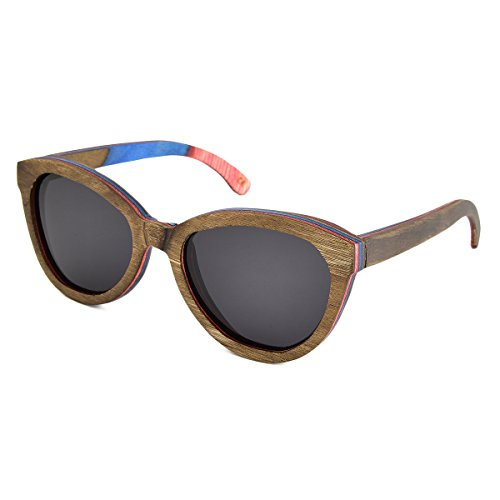 Polarized Sunglasses Brown Skateboard Wood Frame For Women with UV400 Lens JANGOUL (Brown Frame, - Glasses Skateboard
