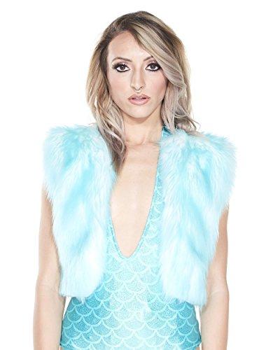 安定したシンジケート恐怖症iHeartRaves Women 's Aqua Tipped Fauxファーファッションミニベスト