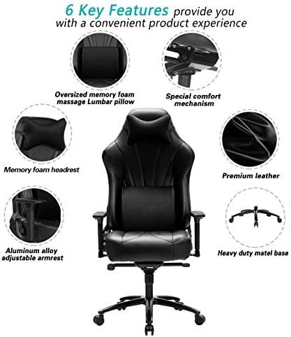 Blue Whale Super Big and Tall Gaming Chair with Massage Lumbar Support,Sedentary Reminder,Metal Base and Aluminum Alloy Armrest High Back PC Racing Office Computer Desk Ergonomic Swivel Task Chair 41utXi0f28L