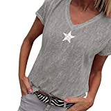 T-Shirt for Women Short Sleeve Star Print V Neck Solid Color Tops Blouse (S, Gray)