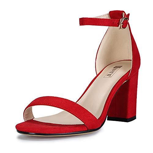 IDIFU Women's IN3 Cookie-MI Open Toe Mid Block Heel Dress Pump Sandal (Red Suede, 5.5 B(M) US)