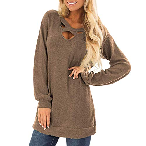 Franterd Women Casual Tops Front Cross V Neck Long Sleeve Long Pullover Sports Sweatershirt Solid Loose Tunic Shirt
