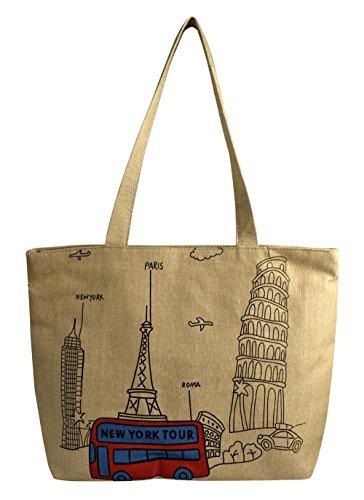 Peach Couture Denim Reusable Cotton Canvas Zipper Tote Laptop Beach Handbags Womens Mens Shoulder Bags (New York Beige)