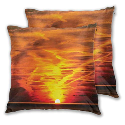Decor Pillow Covers Polyester Square Throw Pillow Sofa Cushion Covers Set, Sunset Over The Sea Golden Horizon Sailing Outdoors Dusk Nature Design Mediterranean,Couch Pillowcase Set of 2 Pack 18IN (Decorating Ideas Mediterranean Patio)