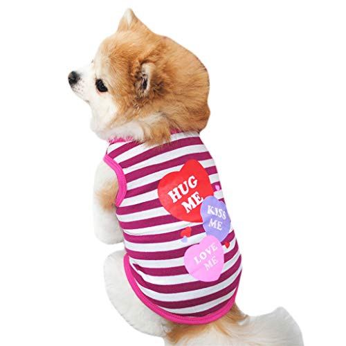 Pet Vest,Hug Me Letter Printed Striped Summer Puppy Shirt Dog Clothes for Small Dogs Apparel (M, Hot Pink) ()