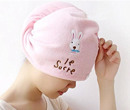 Microfiber Magic Quick-Dry Hair Turban - Great, Pink Beauty Cap Towel Wrap for Faster Drying and Getting Hair Out of the Way for Make-Up! (1)