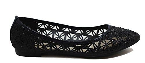 Walstar Women Basic Glitter Mesh Flat Slip on Shoes Point Toe-black