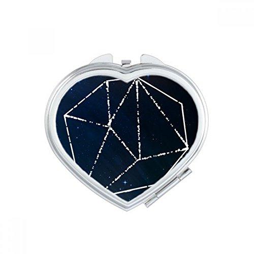 Star Blue Crystal Universe Sky Fantasy Heart Compact Makeup Mirror Portable Cute Hand Pocket Mirrors Gift (Compact Mirror Heart Crystal)