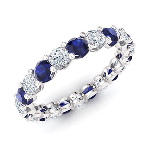 Diamondere Natural and Certified Diamond and Blue Sapphire Wedding Ring in 10K White Gold | 2.59 Carat Full Eternity Stackable Band for Women, US Size 7 ()