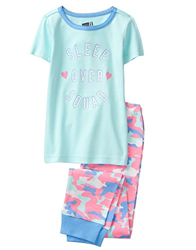 Crazy 8 Girls' Little Short Sleeve Tight FIT Pajama Set, Blue Sleep Squad 12 ()