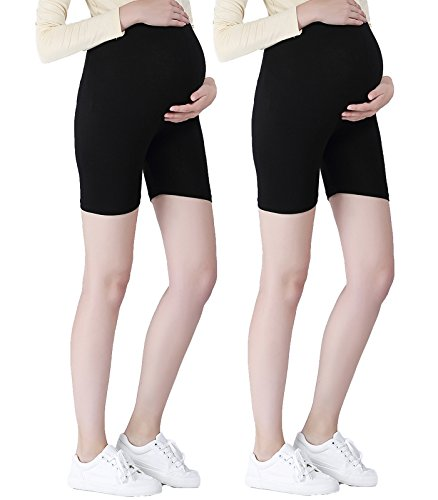 (Liang Rou Maternity Ultra Thin Stretch Short Leggings Plain Black One Size 2-pack: Black Plain)