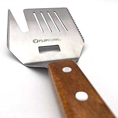FLIPFORK Grill Spatula BBQ Accessory for Grilling BBQ Tools Grill BBQ Accessories for Men Stainless Steel Spatula, Fork, Tenderizer, Bottle Opener and Knife for Grilling Indoor and Outdoor