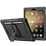 iPad Air 3 Case (10.5 Inch - 2019) - iPad Pro 10.5 Case Cover with Pencil Holder and Built-in Stand and Finger Ring Heavy Duty Kids Safe Protection Silicone Cover (Black)