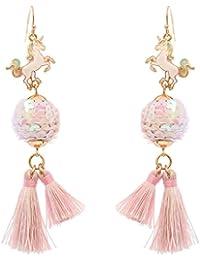 Women's Enamel Charm Sequin Ball Tassel Dangle Pierced Earrings