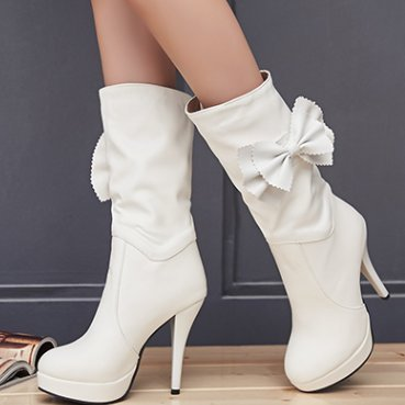 ... Mee Shoes Damen mit Schleife runde Plateau high heels Stiefel Weiß