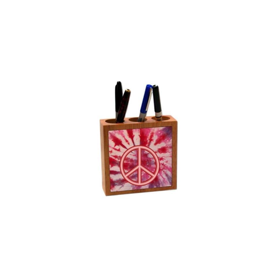 Logo on Red Tye Die Design 5 Inch Tile Maple Finished Wooden Tile