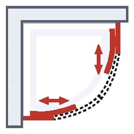 Schulte acc/ès d/'angle arrondi profil/é blanc 90x90x190 cm portes de douche coulissantes verre d/écor d/époli light parois