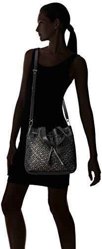 Liebeskind Berlin Women's Topeka Leather Snakeskin Handwoven Bucket Bag, Oil Black by Liebeskind Berlin (Image #6)