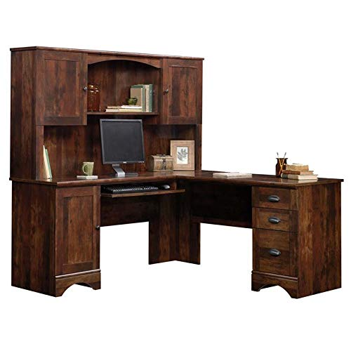 Sauder Harbor View Corner Computer Desk with Hutch