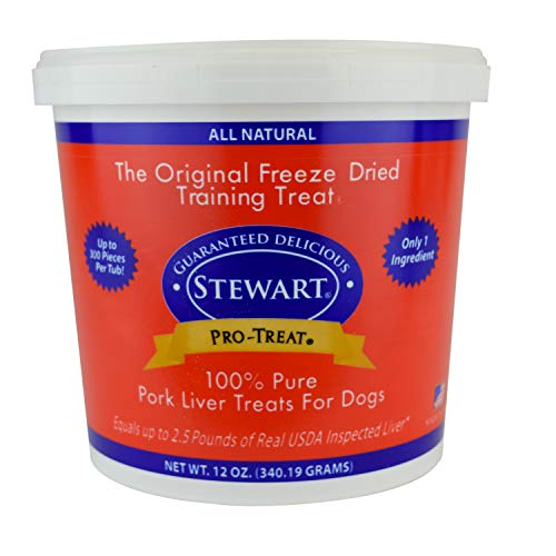 Stewart Freeze Dried Pork Liver Dog Treats, Grain Free All Natural, Made in USA using Human Grade USDA Certified Liver by Pro-Treat, 12 oz., Resealable Tub