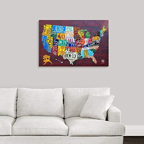 License Plate Map USA Large Canvas Wall Art Print, 36 x24 x1.25