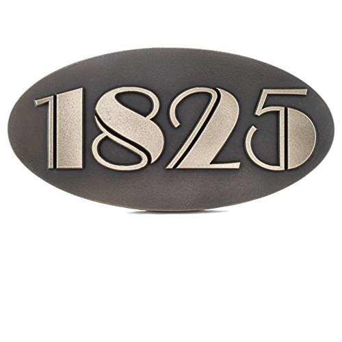 Oval Art Deco Address Plaque 3 or 4 Number 14x7 - Raised Silver Nickel Metal Coated Sign by Atlas Signs and Plaques