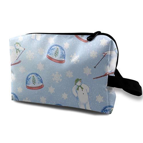 - Snowman Cosmetic Bags Makeup Organizer Bag Pouch Zipper Purse Handbag Clutch Bag