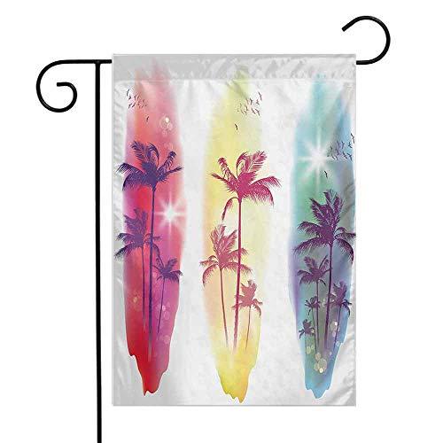 (seedine Premium Garden Flag for Outdoor Tropical Palm Trees Birds Seagulls Pattern Silhouette Surfboards Seascape 12.5 x 18 Inch Purple Fuchsia Pale Yellow)