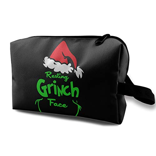 MyLoire Portable Travel Cosmetic Makeup Bag - The Grinch Stole Christmas Shaving Kit Buggy Bag Organizers With Zipper -