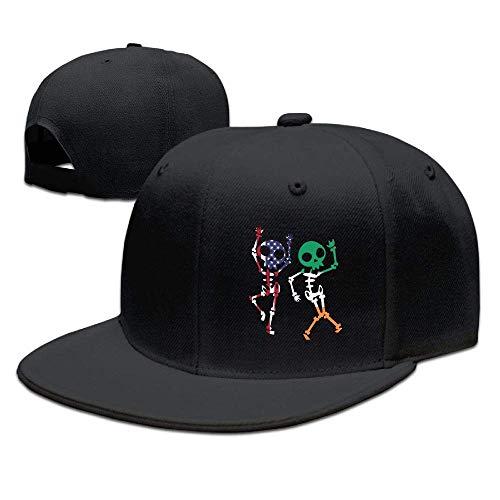 QKBUY Halloween Dabbing American Irish Flag Skeleton Fashion Adjustable Baseball Cap Snapback Hat for -