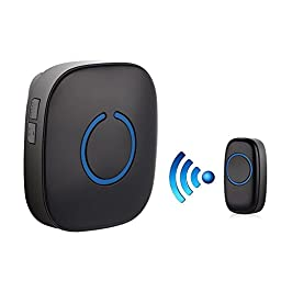 SadoTech Model C Wireless Doorbell Chime Operating over 500-feet Range with Over 50 Chimes, No Batteries Required for Receiver, (Black), Fixed Code C Series