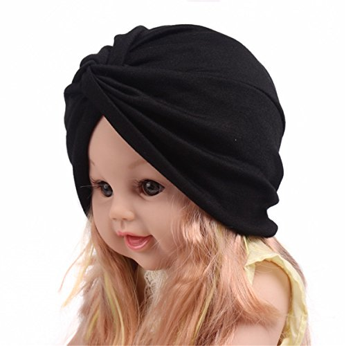 Qhome Fashion Soft Cotton Kids Turban Chemo Hat Hair Covering Hijab Girls Beanie Twist Head Wrap