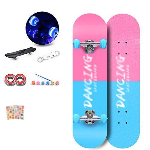 KYCD Flash Wheel Skateboard Principiante per Adulti Bambini Boy Girl Youth Paddle Skateboard Professionale a 4 Ruote (colore   B)