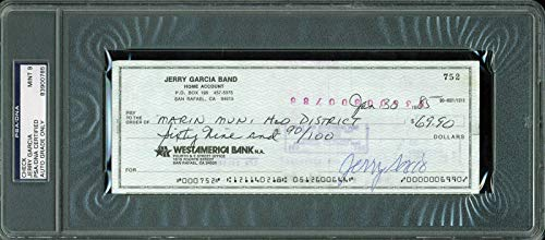 - Jerry Garcia Grateful Dead Signed 1985 check Auto Graded Mint 9! Slabbed - PSA/DNA Certified
